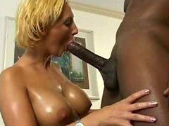 Blonde & big tits fucked by night stick