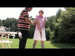 Girl In Training Dress Giving Blowjob For Her Golf Tr...