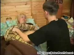 Young boy fucks her sleeping russan mature mother