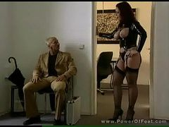 Redhead in latex gives blowjob in hot fucksome with f...