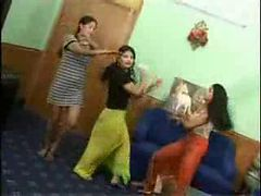 indian college teenage babes nude dance in their host...