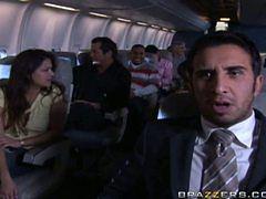 Stewardess with big boobs fucks on a plane