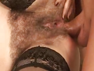 Hairy Mature in Stockings Sucks and Fucks