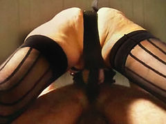 Wife strap on fucking an old pervert