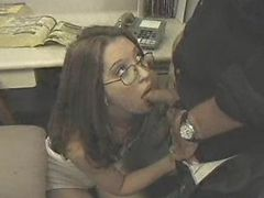 Secretary sucks cock to keep her job