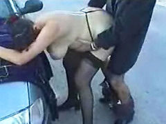 Bitch from Berlin gets fucked in public by 2 guys