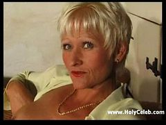 Mature in Stockings with Grey Pussy Hair Spreads and ...