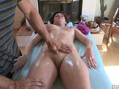 Hot girl getting a happy ending massage!