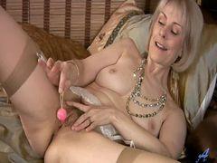 Blonde mature Hazel masturbating