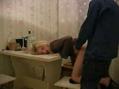 Russian amateur girl fucked from neighbour on table i...