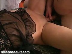 Gorgeous brunette getting drilled by hard cock while ...