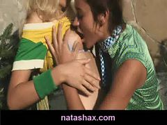 Natasha Shy and her petite blonde girlfriend get naug...