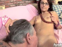 Young brunette Cutie sucks Old mans cock!