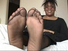 Ebony Mom in Sheer Black Pantyhose