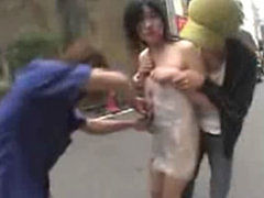 Crazy japanese slut runs in the streets