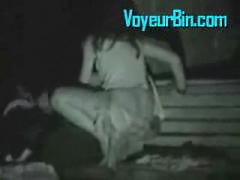 Couple caught fucking on a park bench at night