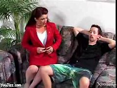 Cougar stepmom fucks stepson - milf ass