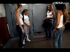 Slave Girl With Tied Arms Licking 3 Girls Pussies Whi...
