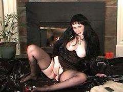 Ellivira masturbating in black Pantyhose