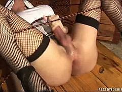 Bound shemale toyed and cumming