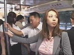 Y.Kazama handjob in bus