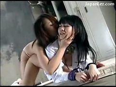 Scared Schoolgirl In Uniform With Handcuff Getting He...