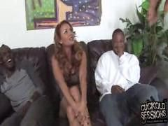 Busty MILF gets gangbanged by black in front of hubby