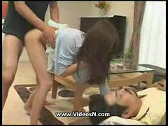 Japanese Wife Fucks Her Husbby Friend While Hes Asleep