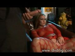 Bad Boys Tear Red Fishnet Lingerie Off Blonde Babe Sa...