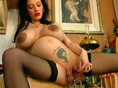 Heavy pierced pussy monster dildoing