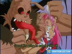 Pinky anime caught and fucked by monster