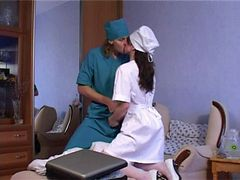 Doctor snatches a moment and bangs a nurse on a patie...