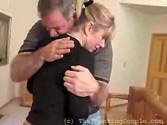 Sweet Blonde Receives a Hug After Her Spanking