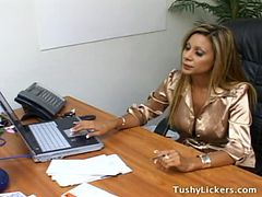 Forced Lesbian Asslicking In Office