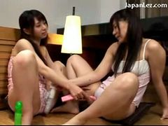 2 Young Schoolgirls In Lingerie Sticking Toys To Each...