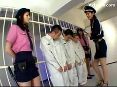 3 Jailer Girls In Uniform Raping 3guys Rubbing Jerkin...