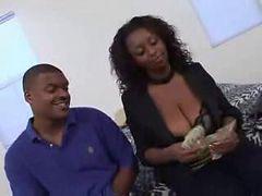 Natural big breasted ebony gets hood hunted ( amateur...