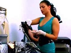 Girl In Corset Tied To Medical Chair Getting Her Puss...