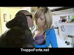Blonde bimbo shagged in  kitche asian street meat