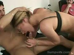 Hot wife strips for cuckold suck