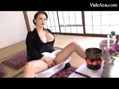 Busty Mature Lady In Black Kimono Masturbating Rubbin...