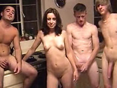 Amateur young slut homemade gangbang