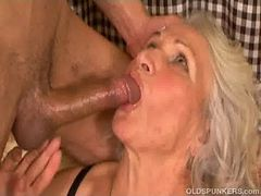 Saggy granny fucked from behind