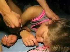 sleeping teen sister surprise cumshot on her face